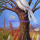 Giant Moulting Albino Grackle in Desert Landscape by Cindy Schnackel