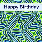 Happy Birthday - Lime Green and Blue Fractal Pattern  by AllJDesigns