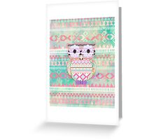 Whimsical Tribal Owl Pastel Girly Tie Dye Aztec Greeting Card