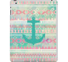 Emerald Nautical Anchor Pastel Watercolor Aztec iPad Case/Skin