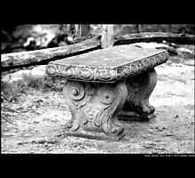 Old Bench Behind Grist Mill - Stony Brook, New York by © Sophie W. Smith