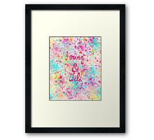 Girly neon Pink Teal Abstract Splatter Typography Framed Print