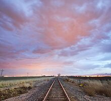 Railroad Tracks Into the Sunset by Bo Insogna
