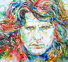 JIM MORRISON -watercolor portrait.1 by lautir