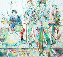 JIM MORRISON & THE DOORS LIVE CONCERT -watercolor portrait by lautir