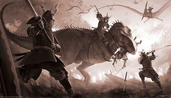 T. rex vs. Samurai by RJ Palmer