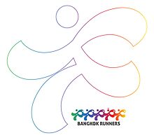 Bangkok Runners | iPad case, white, outline by Lin Da