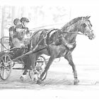 Trotting horse drawing by Mike Theuer