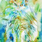 PERSIAN CAT - watercolor portrait by lautir