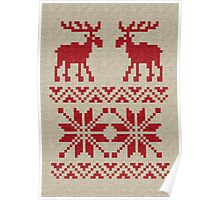 Moose Pattern Christmas Sweater Knit Poster