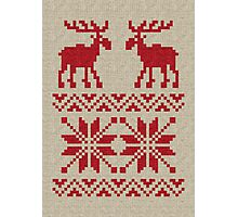 Moose Pattern Christmas Sweater Knit Photographic Print