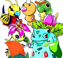 Grass type digimon and pokemon digimon by linwatchorn