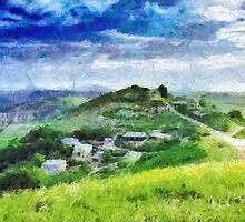 Ptikent village painting by Magomed Magomedagaev