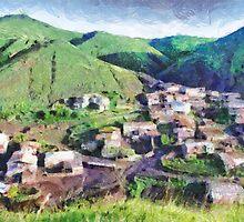 Mauntain village painting by Magomed Magomedagaev