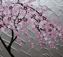 cherry blossom tree art with white and pink- japanese painting by cathyjacobs