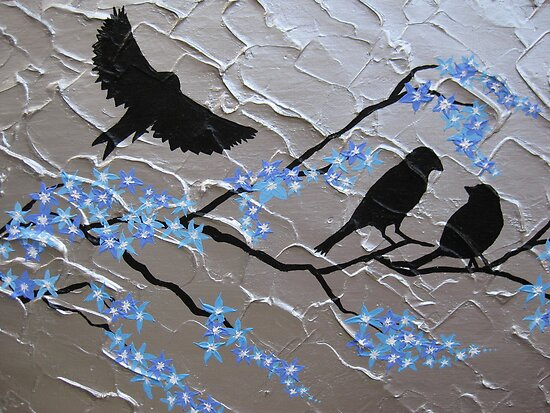delicate blue cherry blossom with birds by cathyjacobs