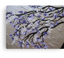 purple and silver zen tree painting with blossom Canvas Print