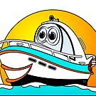 Caribbean Cartoon Motor Boat by Graphxpro