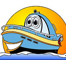 Blue Cartoon Motor Boat by Graphxpro