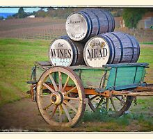 Cart & Wine Barrels 2 by Rob Kelly