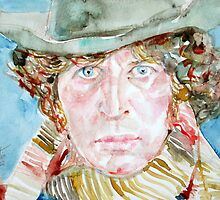 DOCTOR WHO(TOM BAKER)- watercolor portrait by lautir