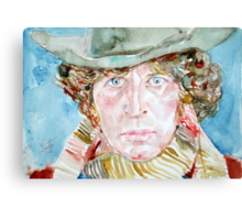 DOCTOR WHO(TOM BAKER)- watercolor portrait Canvas Print