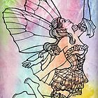 Line Art Fairy on Watercolour Background by LCWaterworth