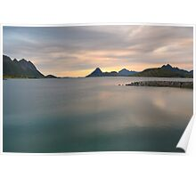 Sunset over fjord shore in Norway Poster