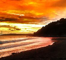Sunset at seaton beach in Cornwall  by Paulmayfield