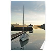Sunset over the fjord in calm weather Poster