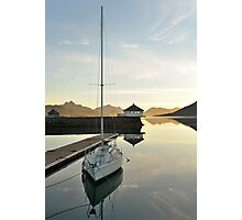 Sunset over the fjord in calm weather Photographic Print
