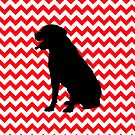 Fire Truck Red Chevron With Lab Retriever by pjwuebker