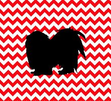 Fire Truck Red Chevron With Shih Tzu Silhouette by pjwuebker
