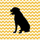 Pastel Orange Chevron With Labrador Retriever by pjwuebker