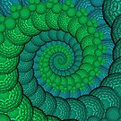 Peacock Feathers Fractal Spiral in Turquoise and Green by printsbypixie