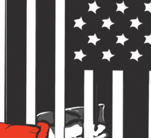 Guantanamo US Flag Political T-shirt. Prisoner behind bars. Sticker