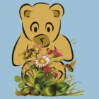 Teddy,Flowers and Bees...Tee by MaeBelle