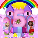 5th Birthday Bouncy Castle Greeting Card For Girls by Moonlake