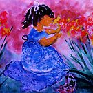 She found the flowers, watercolor by Anna  Lewis