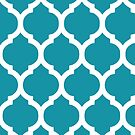 Blue and White Moroccan Lattice Pattern by cikedo