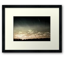Colourized sunset with jet plane Framed Print