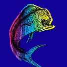 Rainbow Mahi Mahi on Ocean Blue by pjwuebker
