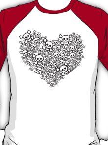 White Emo Skull Love T-Shirt