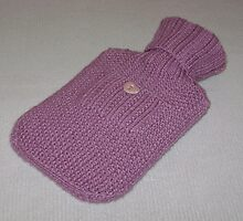 Pink Knitted Hot-Water Bottle Cover by Dionne Meade