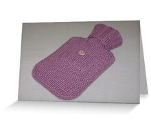 Pink Knitted Hot-Water Bottle Cover Greeting Card