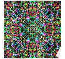 Green Rainbow Mandala Fractal Art Pattern Poster