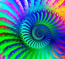 Rainbow Psychedelic Eye Fractal Art Print by Pixie Copley LRPS