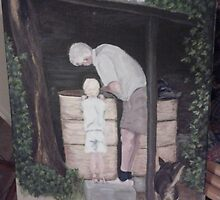 Helping Grandpa with the chook feed (WIP) by Jellyscuds