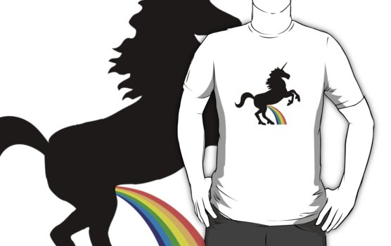 Unicorn Rainbow Pee (black design) by jezkemp