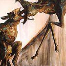 Baby Calf: The Mountain Part 2 (5'x7' Acrylic) by Caroline  Gates